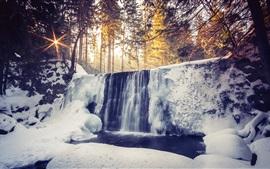 Waterfalls, winter, snow, forest, sunrise