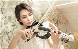 Preview wallpaper White skirt Asian girl play violin