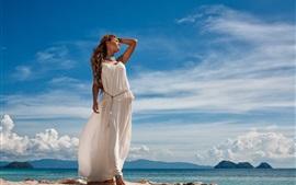 White skirt girl, sea, sky, summer