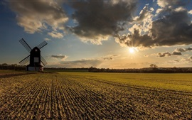 Windmill, fields, clouds, sunset