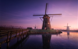 Windmills, haze, morning, river, Netherlands