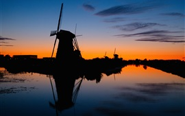 Preview wallpaper Windmills, silhouette, river, sunset, night
