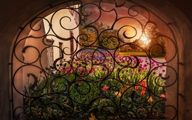 Preview wallpaper Window, arch, flowers, tulips
