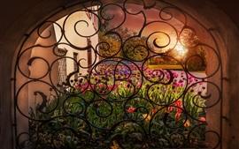 壁紙のプレビュー 窓、アーチ、花、チューリップ