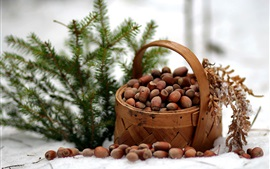 Preview wallpaper Winter, basket, nuts, spruce