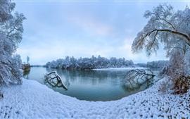 Preview wallpaper Winter, thick snow, trees, river, Stavropol Krai, Russia