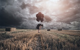 Preview wallpaper Woman, flight balloons, clouds, field, hay