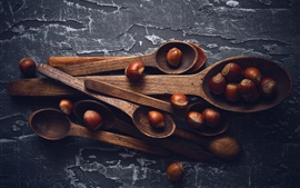 Preview wallpaper Wood spoons, hazelnut