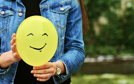Preview wallpaper Yellow balloon, smiley face, hands