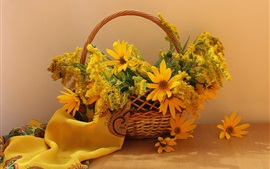 Preview wallpaper Yellow goldenrod flowers, basket