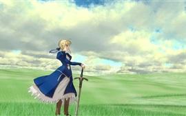 Chica de anime, falda azul, espada, hierba
