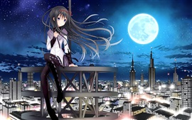 Preview wallpaper Anime girl sit on roof, city, skyscrapers, night, moon