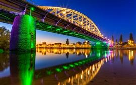 Arnhem, Netherlands, John Frost Bridge, lights, river, city night