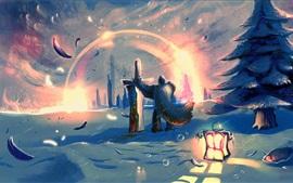 Arte desenho, guerreiro, lanterna, espada, neve