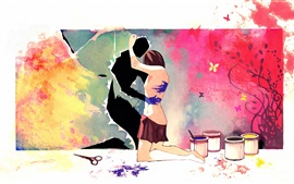 Preview wallpaper Art painting, lovers, hug, scissors, paint