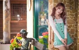 Preview wallpaper Asian girl, blue skirt