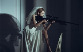 Asian girl, bride, sniper, rifle