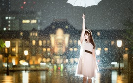 Asian girl in the rain, umbrella, city night, lights, glare