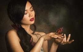 Азиатская девушка, милые, длинные волосы, бабочка
