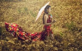 Preview wallpaper Asian girl, wheat field, umbrella