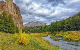Preview wallpaper Autumn, grass, trees, river, mountains, clouds