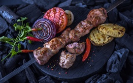 Preview wallpaper BBQ, potatoes, kebab, tomato, onion