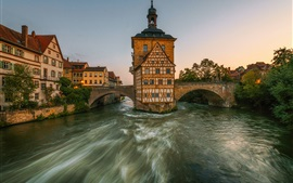 Bamberg, Bayern, Germany, river, bridge, houses, city