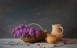 Basket, lilac, kettle, cup