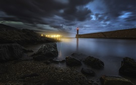 Preview wallpaper Bastia, Corsica, lighthouse, stones, sea, night, lights