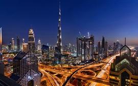 Aperçu fond d'écran Belle ville de Dubaï dans la nuit, gratte-ciel, tour, lumières, routes