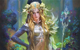 Preview wallpaper Beautiful fantasy girl, blonde, flowers, decoration