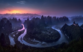 Preview wallpaper Beautiful landscape, river, morning, mountains, village, fog, China