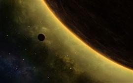 Красивое пространство, звезды, планеты, галактика, космос, подсветка