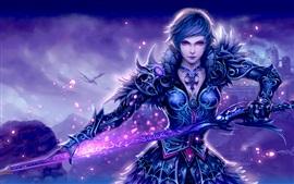 Preview wallpaper Beautiful warrior girl, sword, shine