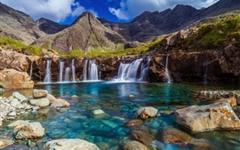 Preview wallpaper Beautiful waterfall, stones, stream, mountains, sky, clouds