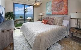 壁紙のプレビュー ベッドルーム、ベッド、ドア、海