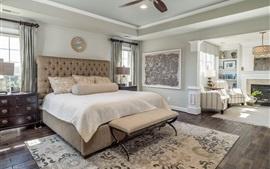 壁紙のプレビュー ベッドルーム、ベッド、枕、椅子、窓