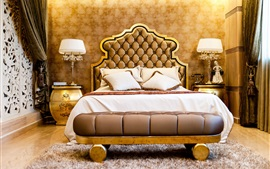 Preview wallpaper Bedroom, luxury style, bed, lamps