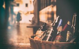 Preview wallpaper Beer bottles, basket, street, night