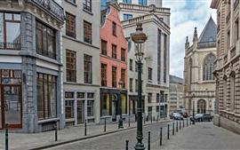 Bélgica, Bruxelas, rua, casas, lâmpada