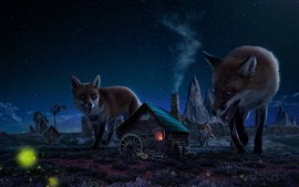 Preview wallpaper Big foxes and small house, art picture