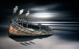 Preview wallpaper Birds and boat, sea, creative design