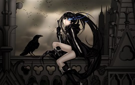 Preview wallpaper Black dress anime girl, crow, sword