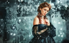 Preview wallpaper Black skirt girl, curly hair, snow, winter