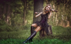 Preview wallpaper Black skirt girl play violin in forest