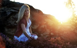 Blonde girl, flowers, fog, morning, glare