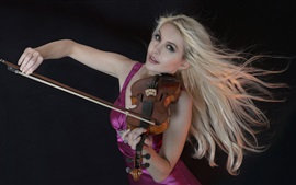 Preview wallpaper Blonde girl play violin, purple skirt, black background