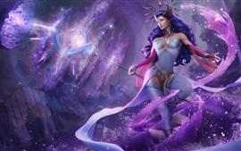 壁紙のプレビュー 青い髪のファンタジー少女、魔法、作品