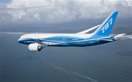 Boeing 787 plane flying, sea