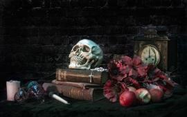 Preview wallpaper Books, skull, apples, flowers
